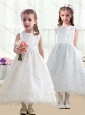 Pretty Scoop A Line White Flower Girl Dresses in Lace