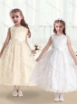 Pretty Scoop Lace and Belt Flower Girl Dresses in White