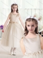 Romantic Ball Gown Bateau Champagne Flower Girl Dresses with Belt