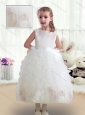 Sweet Scoop White Flower Girl Dresses with Ruffles