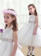 Wonderful Scoop White Flower Girl Dresses with Beading