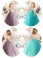 Cute Empire Straps Little Girl Dress Appliques and Beading
