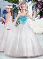 Latest Spaghetti Straps Flower Girl Dresses with Appliques and Bubles