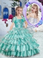 New Style  Ball Gown Apple Green Little Girl Pageant Dresses with Ruffled Layers