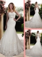 Elegant Mermaid Scoop Wedding Dresses with Beading and Belt