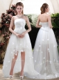 Modern Strapless Appliques and Belt Zipper Up Wedding Dresses with High Low
