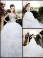 Beautiful Ball Gown Chapel Train Wedding Dresses with Beading and Ruffles