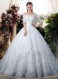 Elegant Ball Gown Off the Shoulder Lace Chapel Train Wedding Dresses with Half Sleeves