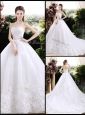 New Style Ball Gown Sweetheart Chapel Train Wedding Dresses with Appliques
