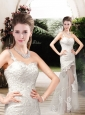 Perfect Column One Shoulder Wedding Dresses with Lace