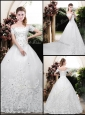 Perfect Off the Shoulder Appliques Wedding Dresses with Cap Sleeves