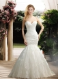 Popular Mermaid Sweetheart Wedding Dresses with Appliques and Ruching