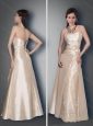 Classical Empire Champagne Lace Up Mother of The Groom Dress with Appliques