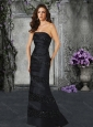 Column Strapless Satin Black Mother of The Groom Dress with Beading