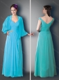 Empire V Neck Cap Sleeves Baby Blue Mother of The Bride Dress