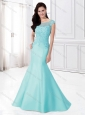 Mermaid Bateau Cap Sleeves Mother of The Groom Dress with Appliques