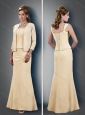 Perfect Column Straps Ruched Champagne Mother of The Groom Dress with Jacket
