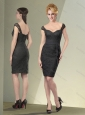 Pretty Straps Cap Sleeves lace Black Mother of The Bride Dress
