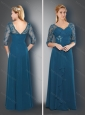Simple V Neck Half Sleeves Teal Mother of The Bride Dress with Appliques