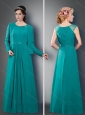 Latest Empire Scoop Turquoise Mother of The Groom Dress with Belt
