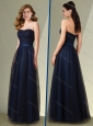 Latest Empire Strapless Navy Blue Mother of The Bride Dress with Belt
