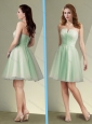 Pretty Short Strapless Apple Green Mother of The Bride Dress with Ruching
