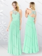 2016 Affordable Empire Appliques Bridesmaid Dresses in Apple Green