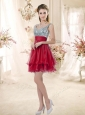 2016 Wonderful Straps Sequins and Ruching Prom Dresses  in Wine Red