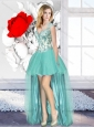 2016 Aqua Blue High Low Cheap Beautiful Prom Dresses with Appliques
