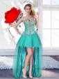 2016 Exclusive Beaded Turquoise Beautiful Prom Dresses with High Low