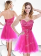 2016 Lovely Short Hot Pink Beautiful Prom Dresses with Beading and Hand Made Flowers