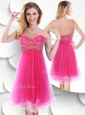 2016 Pretty Sweetheart Hot Pink Beautiful Prom Dresses with Beading