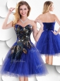 Luxurious Short Peacock Blue Prom Dress with Beading and Appliques