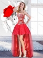 2016 Classical Red High Low Dama Dresses for Quinceanera with A Line