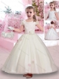 Latest Scoop Short Sleeves Belted Flower Girl Dress in Lace and Tulle