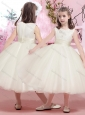 Lovely Tulle Scoop Tea Length Flower Girl Dress with Appliques
