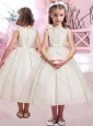 Modern Hand Made Flower and Belted Flower Girl Dress with Bateau