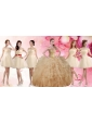 Classical Applique and Ruffled Champagne Sweet 16 Dress and Short Dama Dresses