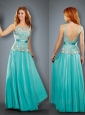 Empire Bateau Turquoise Mother of The Bride Dress with Appliques