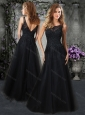 Princess Scoop Black Mother of  The Bride Dress with Beading and Appliques