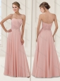 Column Baby Pink Evening Dress with Beading and Appliques