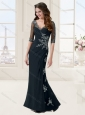 Column V Neck Applique Black Evening Dress with Half Sleeves
