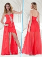 Cheap Chiffon Empire Beaded Long Bridesmaid Dress in Red