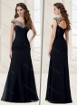 Empire Scoop Applique Black Evening Dress with Cap Sleeves