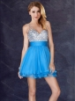 Hot Sale Backless Chiffon Baby Blue Short Prom Dress with Sequins