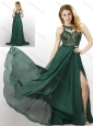 New Style Empire Chiffon Laced and High Slit Prom Dress in Dark Green