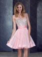 New Style Short Sweetheart Baby Pink Prom Dress with Beading