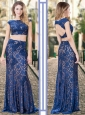 Two Piece Bateau Backless Royal Blue Prom Dress in Lace