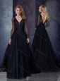 Beautiful Deep V Neckline See Through Black Bridesmaid Dress with Brush Train