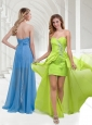 Cheap Classical Chiffon Beaded Yellow Green Long Prom Dress with Empire